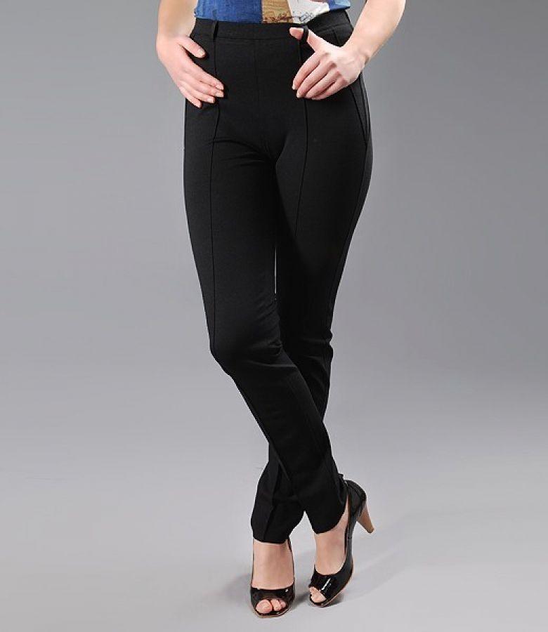 Gros Cu pantaloni din jerse negru gros cu nervuri black - yokko