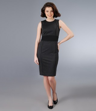 Elastic fabric gray dress with black belt
