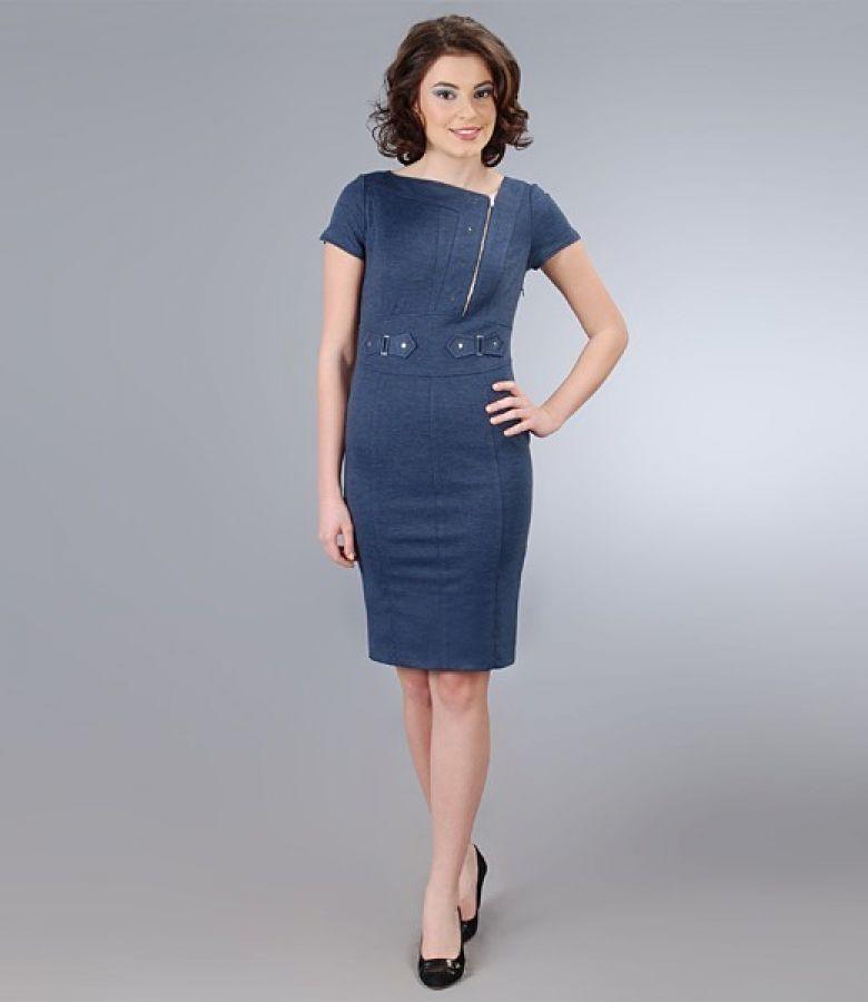 Gros Cu rochie din jerse elastic gros cu decolteu asimetric navy - yokko