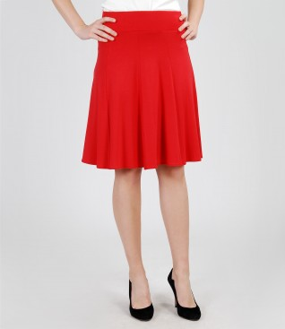 Skirt in red jersey with gussets