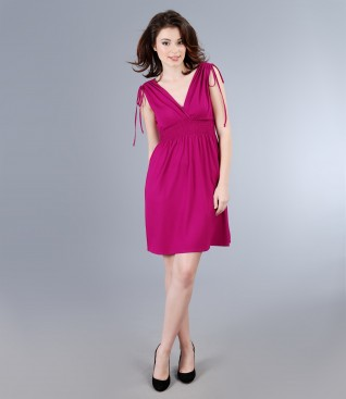 Elastic jersey dress with overlapped chest