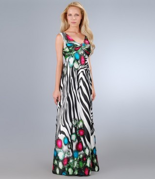 Long dress in print satin with knot and bow