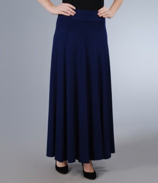 Long skirt in navy blue jersey with gussets