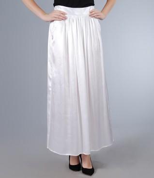 White long skirt in satin viscose