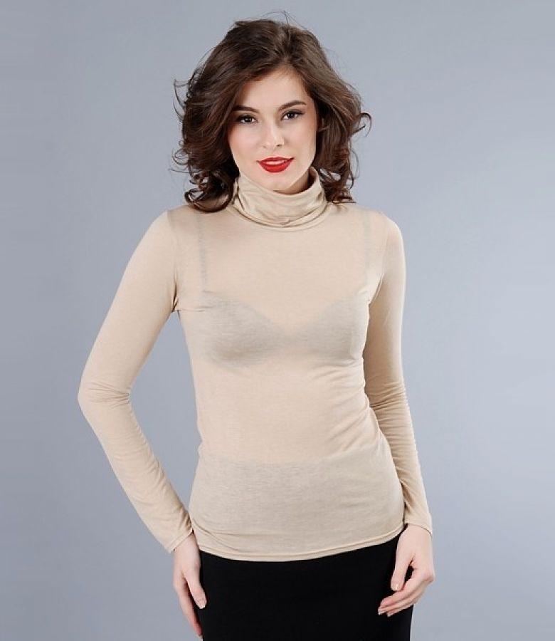 Wool jersey neck t-shirt
