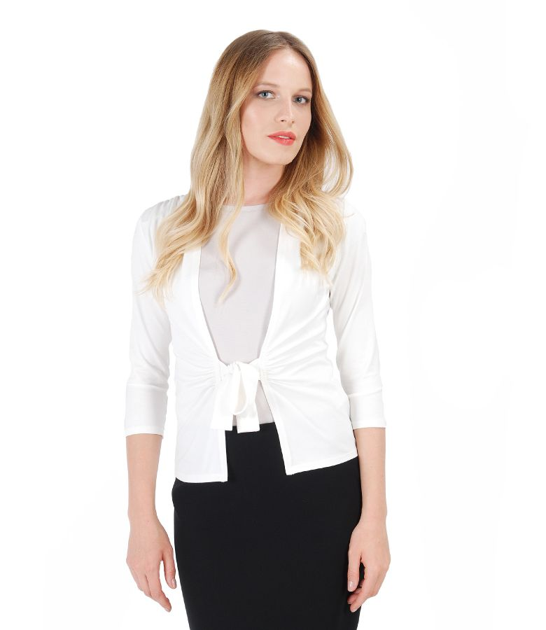 Ivory jersey blouse tied with cord