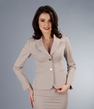 Cotton elastic beige jacket