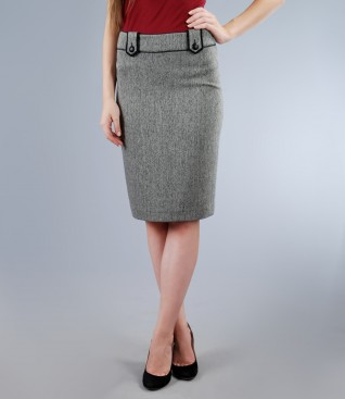 Office skirt from tweed with trim