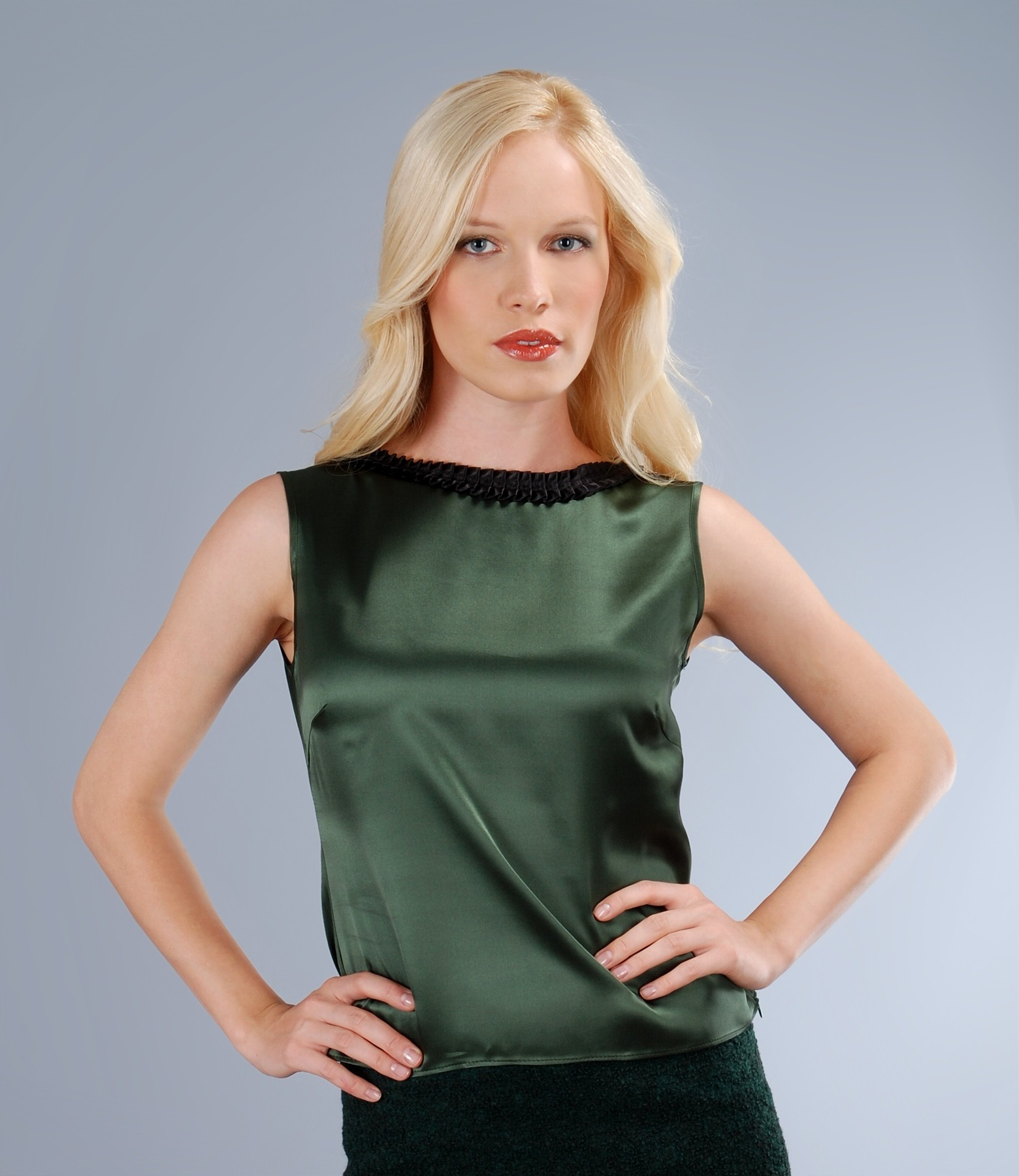 Silk satin blouse with trim green