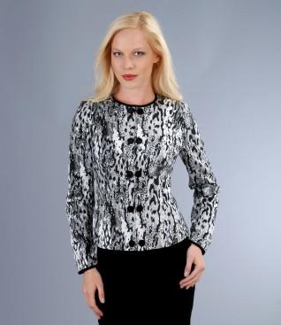 Elastic brocade fabric with velvet trim