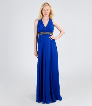 Long veil dress with trim
