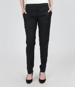 Flax trousers with pockets