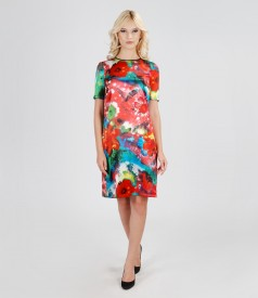 Printed elastic satin dress with pockets