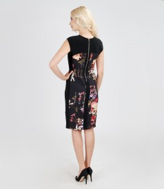 Elegant dress from elastic fabric with floral insertion