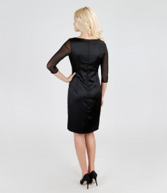 Elegant dress from brocade and elastic satin