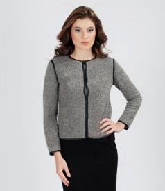 Elastic loops jacket with wool