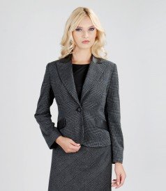 Office jacket with leather trim