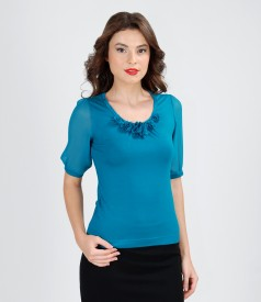 Jersey t-shirt with veil flowers