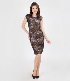 Multi-color elastic brocade evening dress with metalic thread