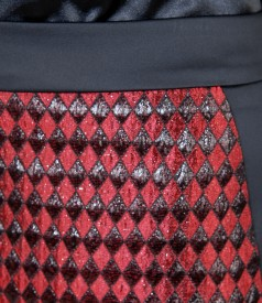 Elegant skirt from brocade and elastic satin