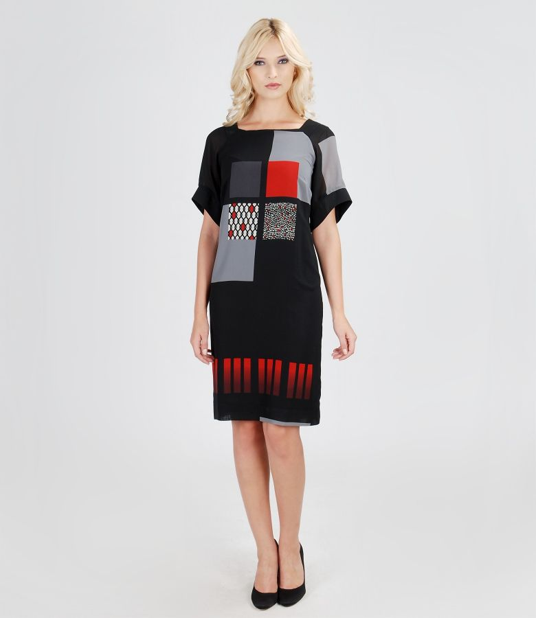 Printed elastic veil dress with sleeves