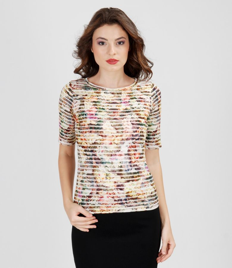 Printed jersey t-shirt with short sleeves