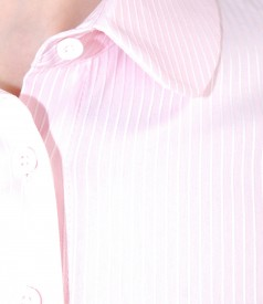Elastic cotton shirt with rounded collar