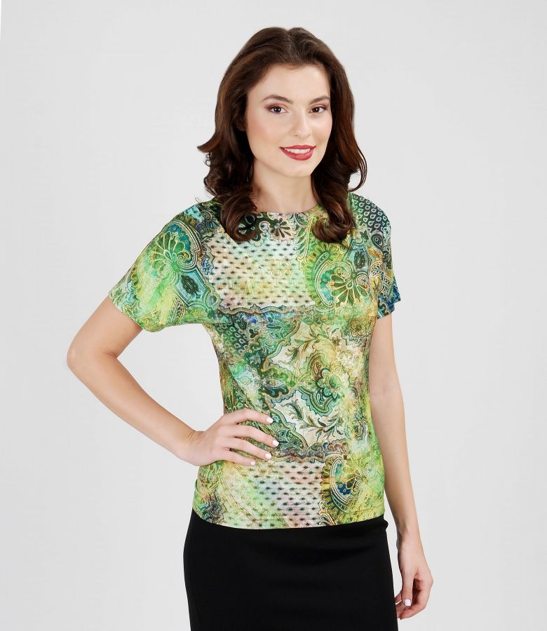 Printed elastic jersey t-shirt with puckered shoulders