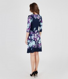 Printed elastic jersey dress with buckle