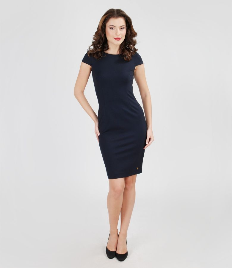 Thick elastic jersey dress with fins