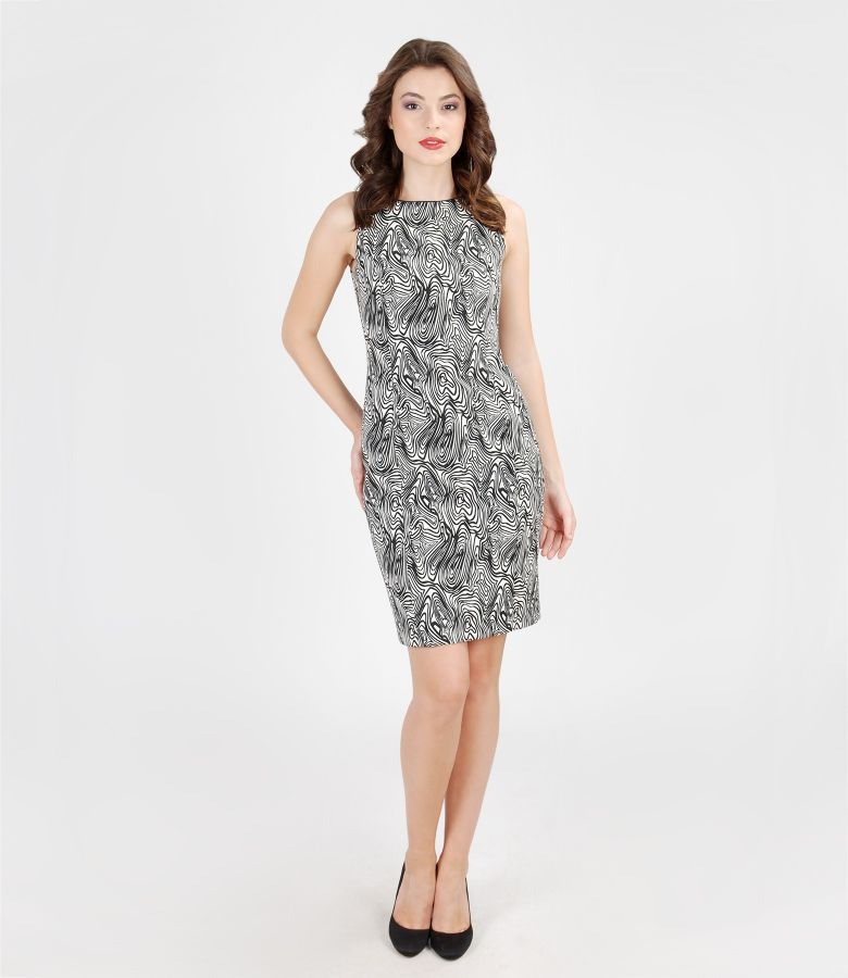 Black&white elastic brocade dress