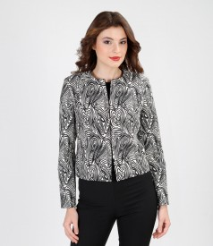 Black&white elegant brocade jacket
