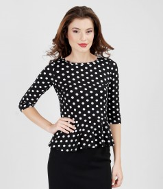 Printed elastic jersey t-shirt with frill