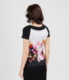 Graphic print t-shirt with cord