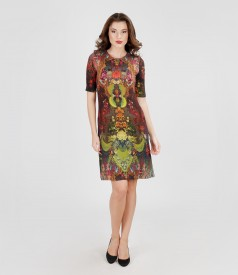 Printed elastic jersey dress