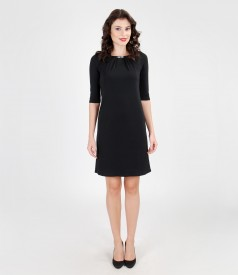 Jersey dress with pleats