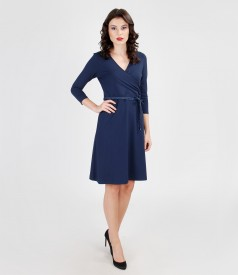Elastic jersey dress with V-neck