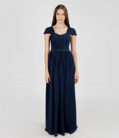 Long evening dress from veil and satin with crystals trim