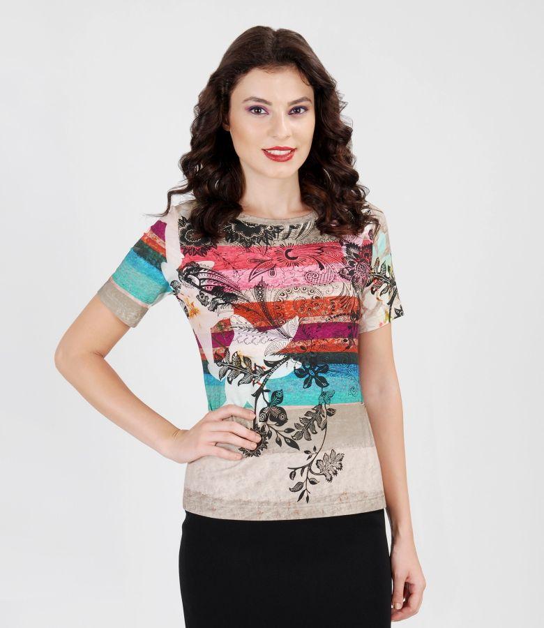 Printed elastic jersey t-shirt