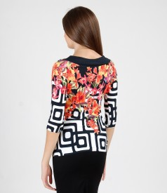 Printed elastic jersey t-shirt with cord