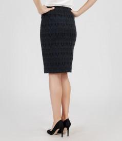 Elastic cotton brocade skirt