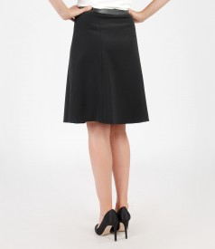 Flaring skirt with leather trim