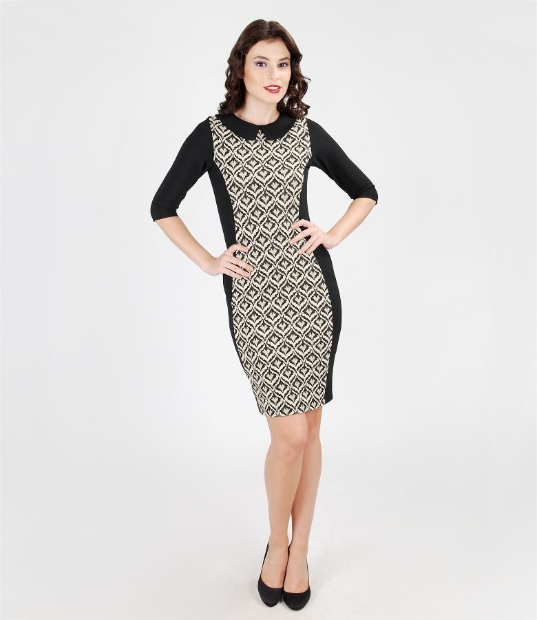 Elastic jersey dress with brocade insertion with effect thread