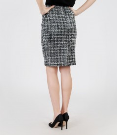 Multicolored skirt from cotton and virgin wool loops