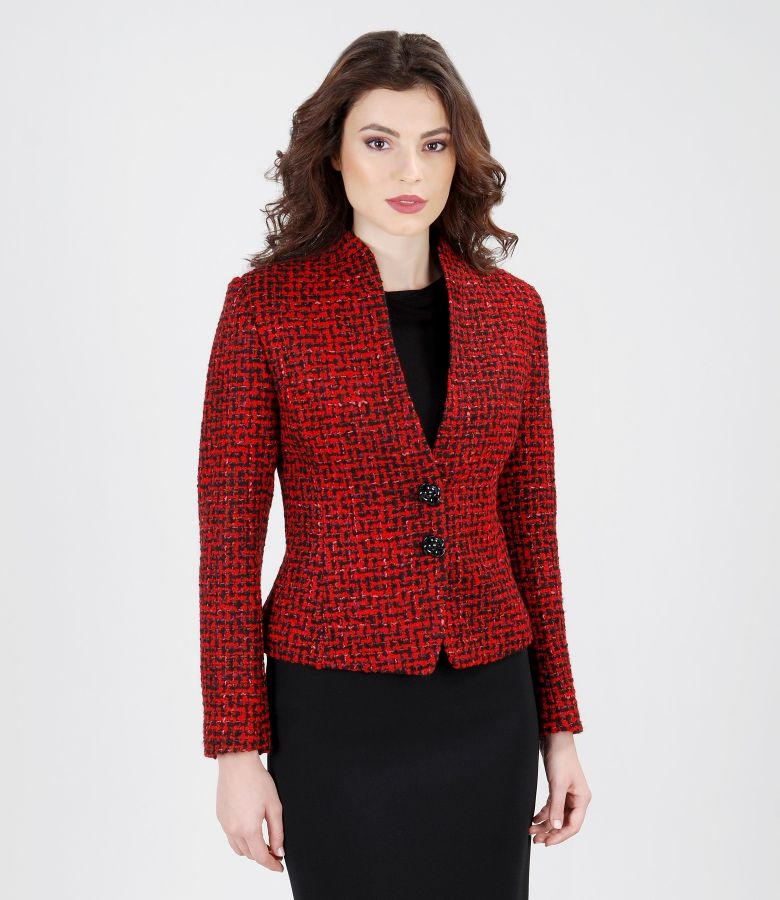 Multicolored jacket from cotton and virgin wool loops