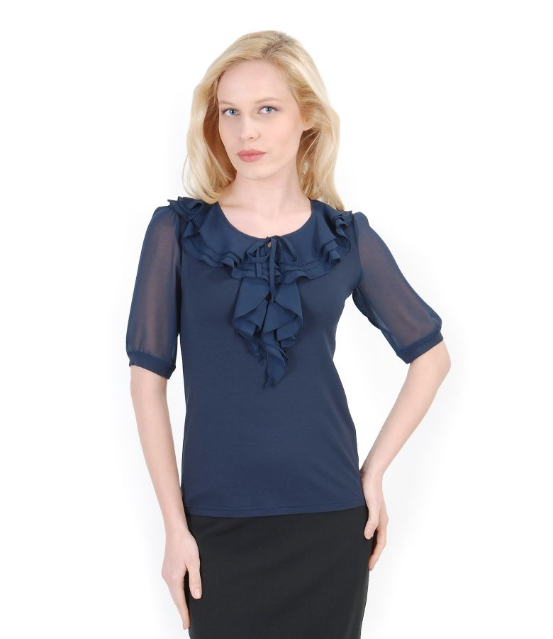 Elastic jersey t-shirt with veil frill