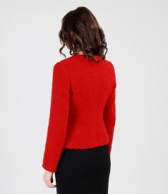 Red jacket from alpaca and wool loops
