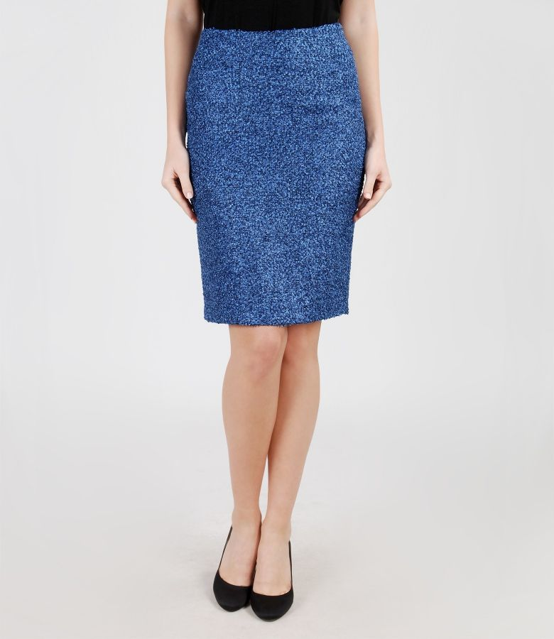 Blue skirt from loops with cotton