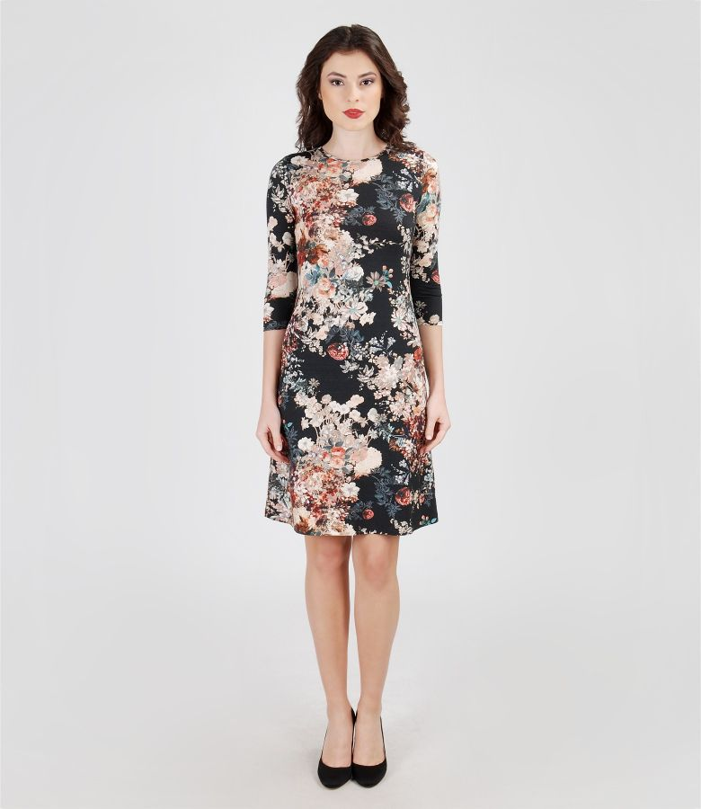 Printed elastic jersey dress with lining