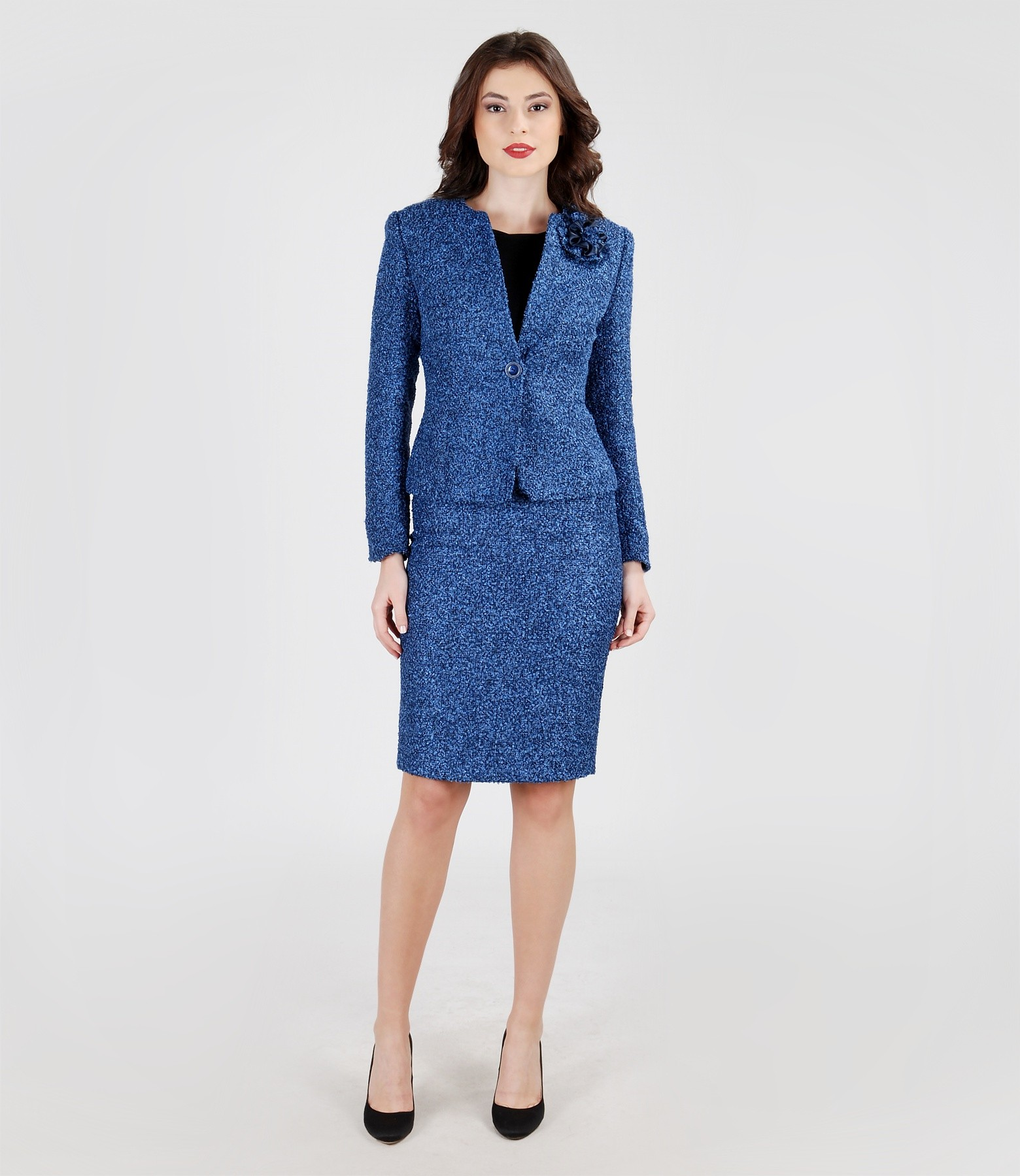 Blue office outfit from loops with cotton - YOKKO